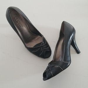 Leather Strap Peep Toe Heels
